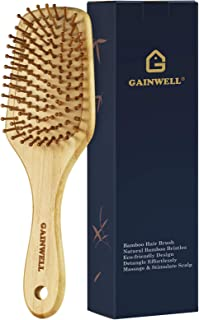 GAINWELL Bamboo Paddle Hair Brush with Round Bamboo Bristles, Massage Air Cushion for Women Men and Kids - Unique Shape