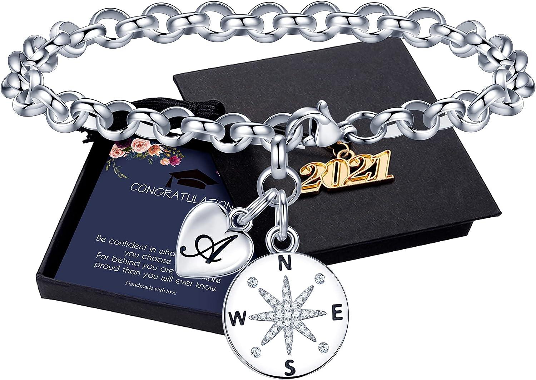 Graduation Gifts for Her 2021, Class of 2021 Inspirational Heart Initial Compass Bracelet High School College 2021 Graduation Gifts for Teen Girls Women