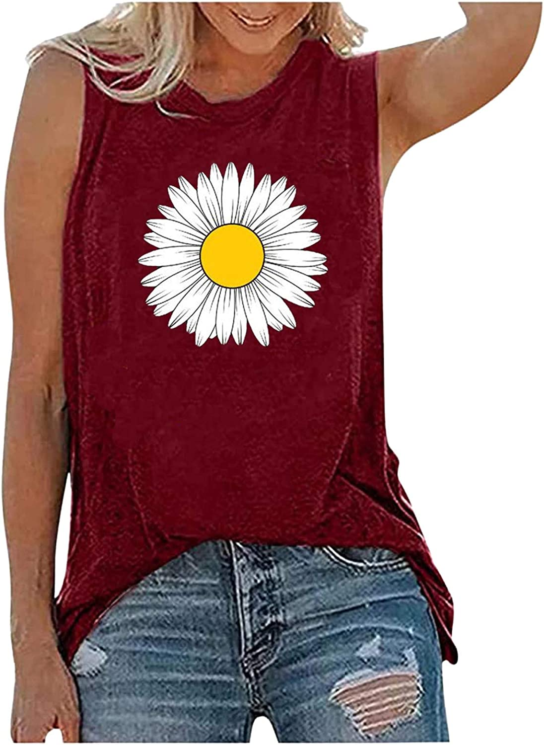 Tank Tops for Women Casual, Womens Fashion Sleeveless Loose Fit Summer Tank Shirts Blouses Crop Tank Tunics Vest