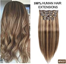Double Weft Clip in Human Hair Extensions, Re4U Balayage Thick Hair Extensions Human Hair Clip in Extensions 18inch Highlight Blonde Multi Color Mixed Chocolate Brown(#4/27 10pcs 18