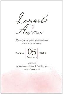 Partecipazioni matrimonio eleganti inviti nozze acquerello disponibile in tutti i colori 10 pz