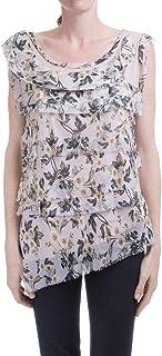 无袖丝褶皱上衣,花卉印花设计 - 意大利制造