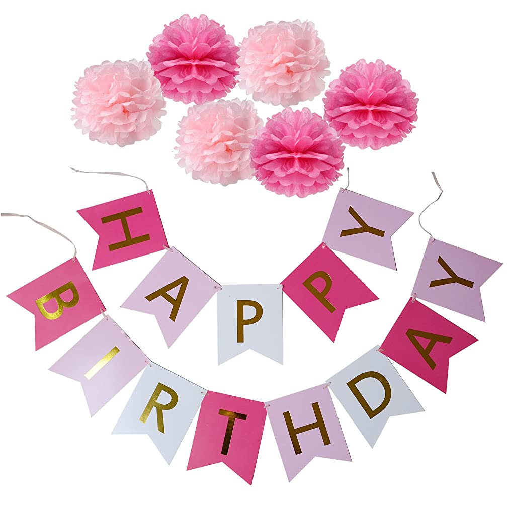 XADP Happy Birthday Banner with Set of 6 Paper Pom Poms Flowers Birthday Party Decorations