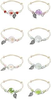 Hanpabum 8Pcs Dried Flowers Plant Charms Bracelets Set Women Girls Dandelion Clear Resin Ball Bracelets Adjustable Length