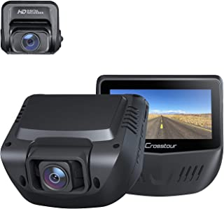 Dash Cam Both 1080P FHD Front and Rear Dual Lens in Car Camera Recorder Crosstour External GPS HDR Both 170°Wide Angel Mot...