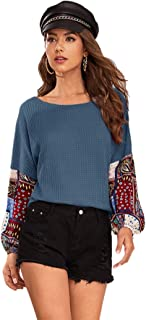 ROMWE Women's Casual Flounce Long Sleeve Striped Embroidery Floral Print Tee Tops T-Shirt