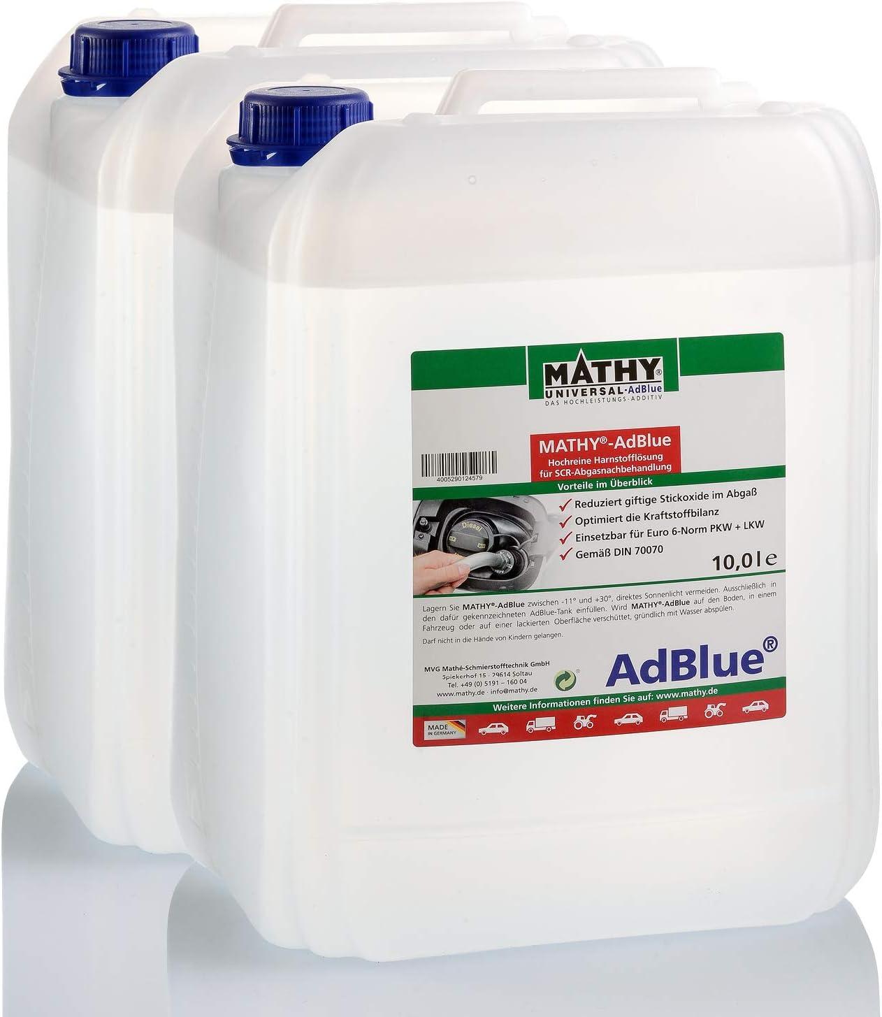 Mathy Adblue 10 Liter Hochreine Harnstofflösung Für Scr Abgasnachbehandlung Inklusive Einfüllhilfe Auto