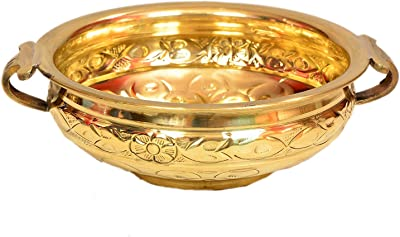 Hashcart 12.25 inch Traditional Decorative Brass Urli for Home /& Office Decoration