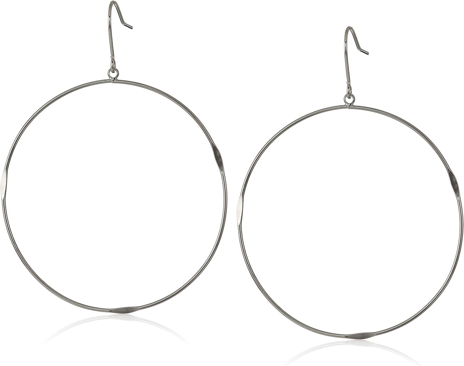 French Connection Women's Large Flattened Hoop Earrings
