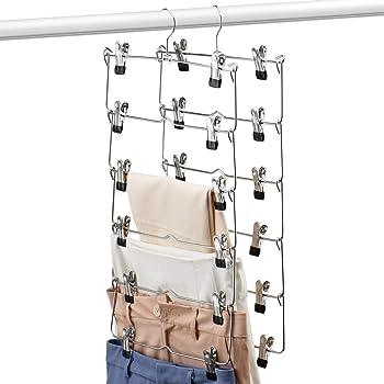 Multi Capa Percha para Los Pantalones con Antideslizante Clip Slack Colgantes//Pantal/ón Jean 6-Tier Perchas Pantalones con Pinzas Met/álicas Perchas Falda Ahorro De Espacio