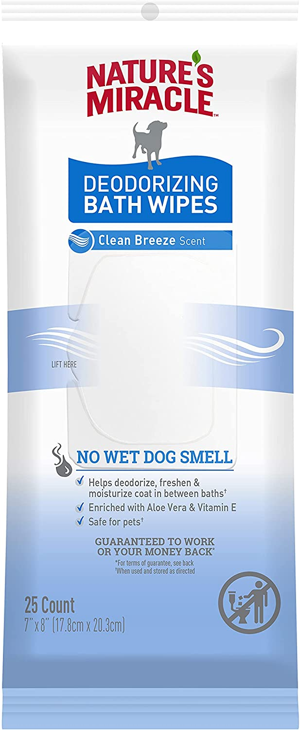 Nature's Large special price Miracle trend rank Deodorizing Bath Wipes 25 Clea Count for Dogs