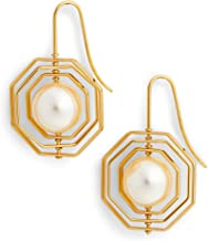 Tory Burch 56608 Geo Spinning Pearl Gold Earrings