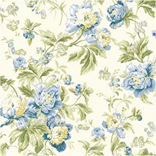 York Wallcoverings WA7803 Waverly Classics Forever Yours Wallpaper, Eggshell/Gray Blue/Cobalt Blue/Sage/Amber/Butter/Willow Green/Grass Green