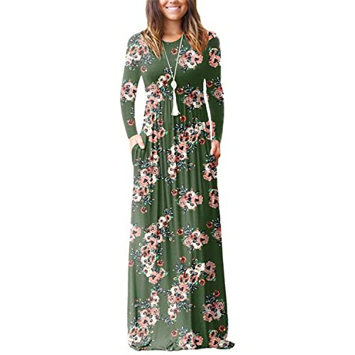 235988808ec Dasbayla Women s Casual Long Short Sleeve Maxi Dress with Pockets