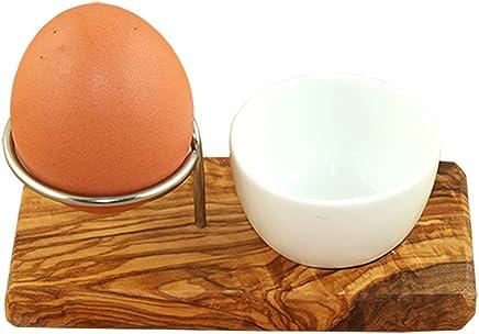Preisvergleich für D.O.M. Eierbecher aus Olivenholz und Edelstahl mit Porzellanschale