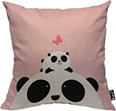 Mugod Panda Throw Pillow Case Little Panda Lying on The Head of Father Looking at Butterfly Cotton Linen Square Cushion Covers Standard Pillowcase Couch Sofa Bed Men/Women/Boys/Girls Room 18x18 Inch