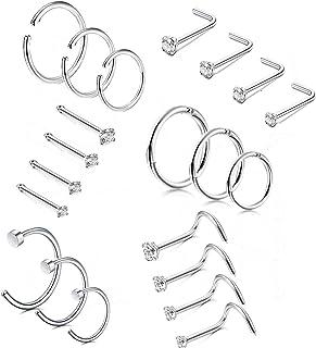 14-21 Piezas aro de Acero Inoxidable Anillos de la Nariz Anillo de la Nariz Stud Body Piercing Jewelry CZ con Incrustaciones 1.5MM 2MM 2.5MM 3MM