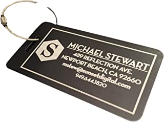 Personalized Luggage Tags Engraved Design - Elegant and Durable Travel Suitcase Name Tags (Aqua - Stewart Design, 1 Luggage Tag)