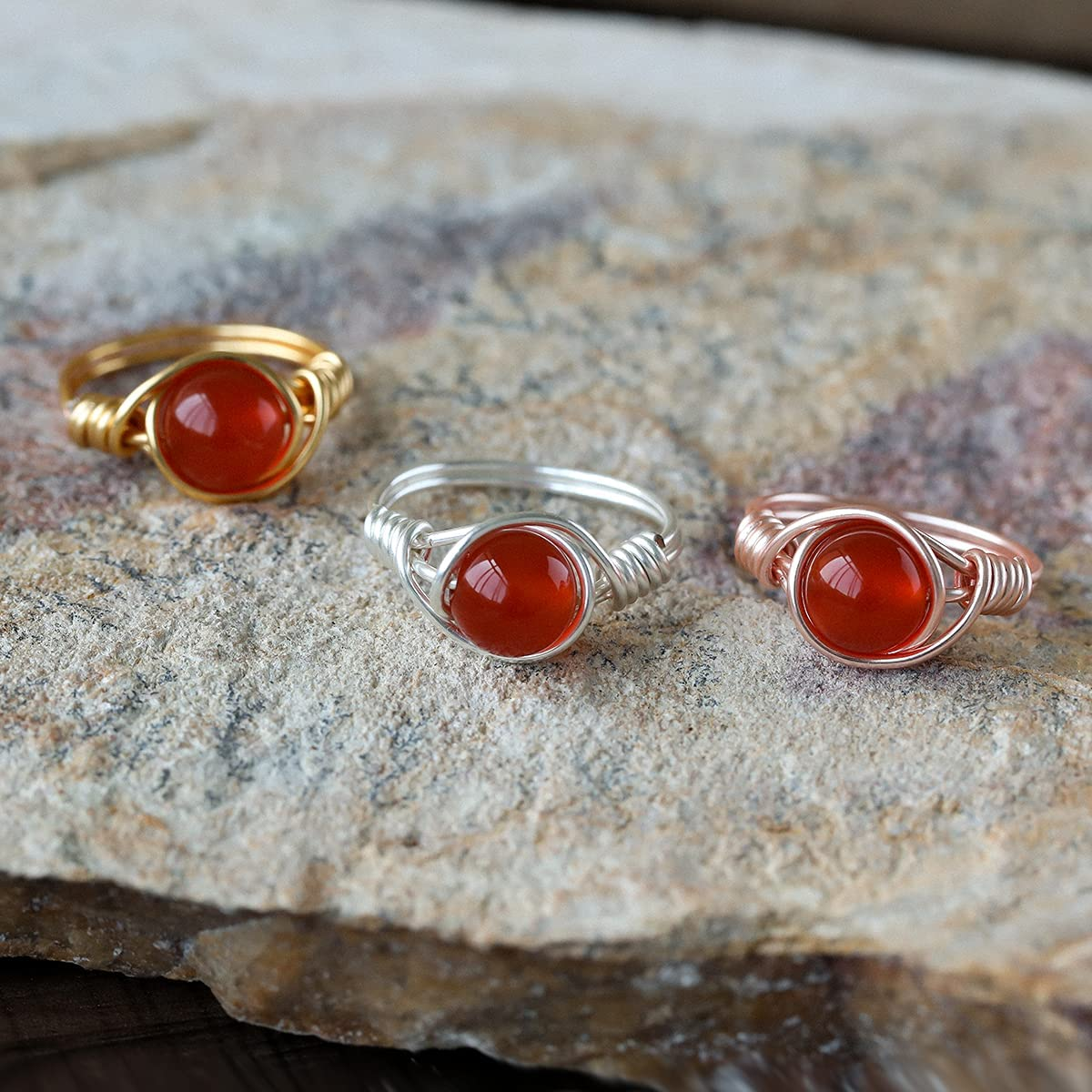 Wishangol Carnelian Crystal Ring, Wire Wrap Real Carnelian Crystal Ring,  Healing Crystal Gold Rings for Women Men Statement Stacking Band Ring  Jewelry