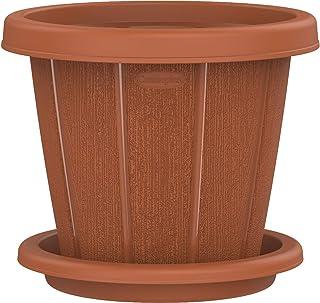 "Cosmoplast Plastic Cedargrain Round Flowerpot 8"" with Tray, Terracotta, 8-inches"