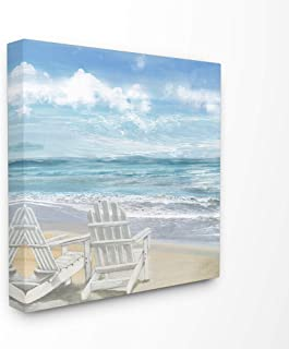 The Stupell Home Décor Collection White Adirondack Chairs on The Beach Painting Stretched Canvas Wall Art, 24 x 24, Multi-Color