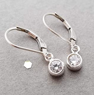Sterling silver earrings with CZ dangle