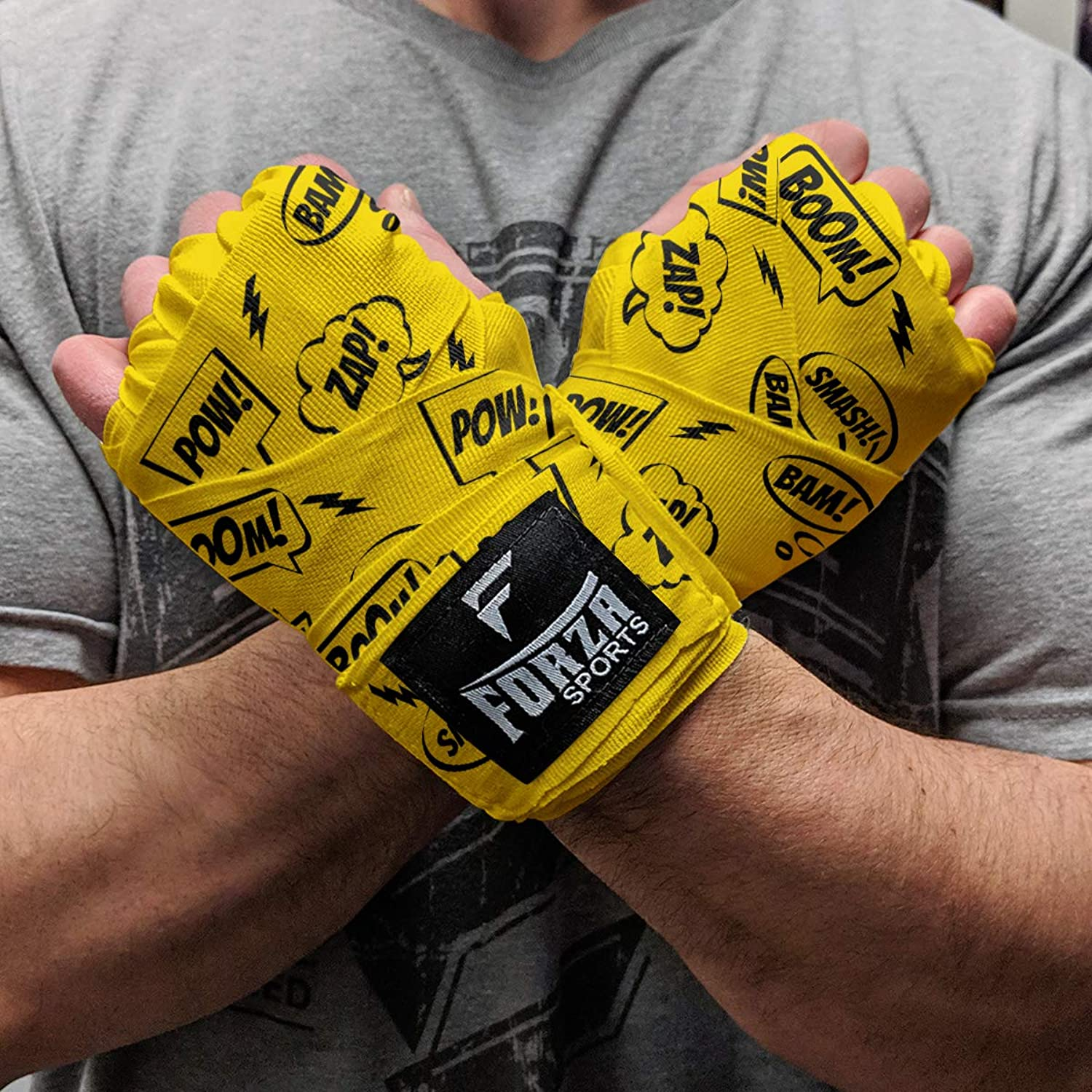 Forza Sports 180  Mexican Style Boxing and MMA Handwraps  Comic Book Yellow