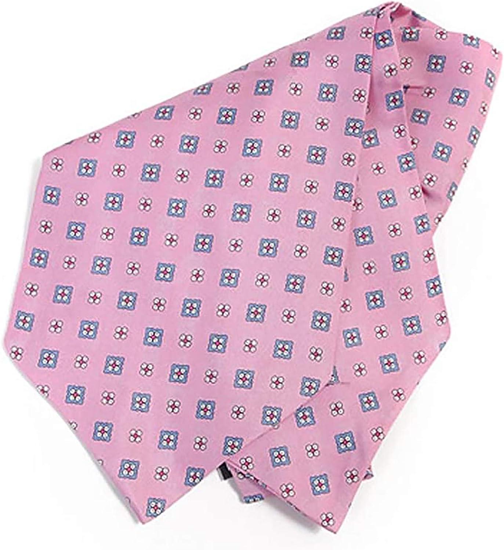 Square Pink Geometric Ascot Tie