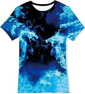 Loveternal Niños Niñas Camiseta Manga Corta 3D Impreso T-Shirt Gráfico Verano Casual Camisetas para Niños 6-14 Años