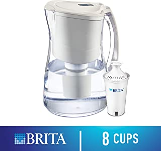 Brita Medium 8 Cup Water Filter Pitcher with 1 Standard Filter, BPA Free – Marina, White