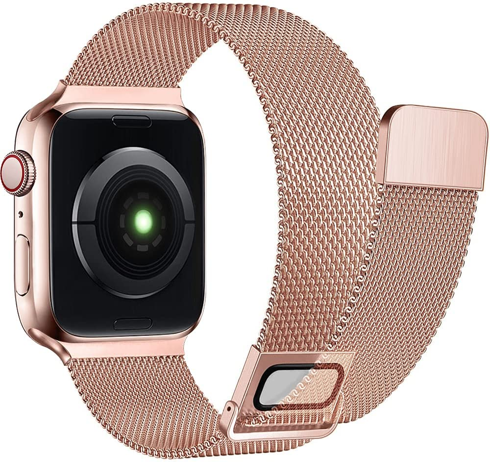 AdMaster Stainless Steel Magnetic Band Compatible with Apple Watch 38mm 40mm 41mm, Adjustable Milanese Magnet Metal Mesh Clasp Loop Men Women for iWatch Series 7/6/5/4/3/2/1 SE 38/40/41 mm Pink Gold