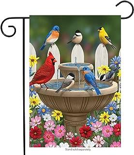 Briarwood Lane Birdbath Gathering Spring Garden Flag Floral Birds 12.5