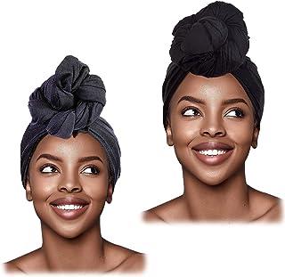 L'VOW 2 قطعة تمتد عمامة عمامة عصابة رأس طويلة الشعر التفاف الحجاب التعادل رئيس التفاف الأوشحة للنساء