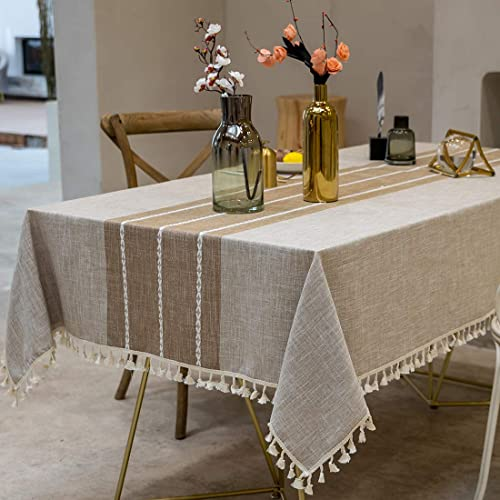 TEWENE Tablecloth, Rectangle Table Cloth Cotton Linen Wrinkle Free Anti-Fading Tablecloths Embroidery Tassel Table Co...