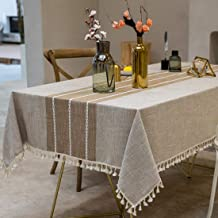 TEWENE Tablecloth, Rectangle Table Cloth Cotton Linen Wrinkle Free Anti-Fading Embroidery Tablecloths Washable Dust-Proof ...