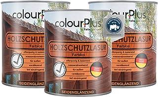colourPlus Holzschutzlasur 3x750ml, farblos seidenglänzende Holzlasur Außen- Holz Grundierung - Holz Lasur - Holzlasur Aussen - Made in Germany