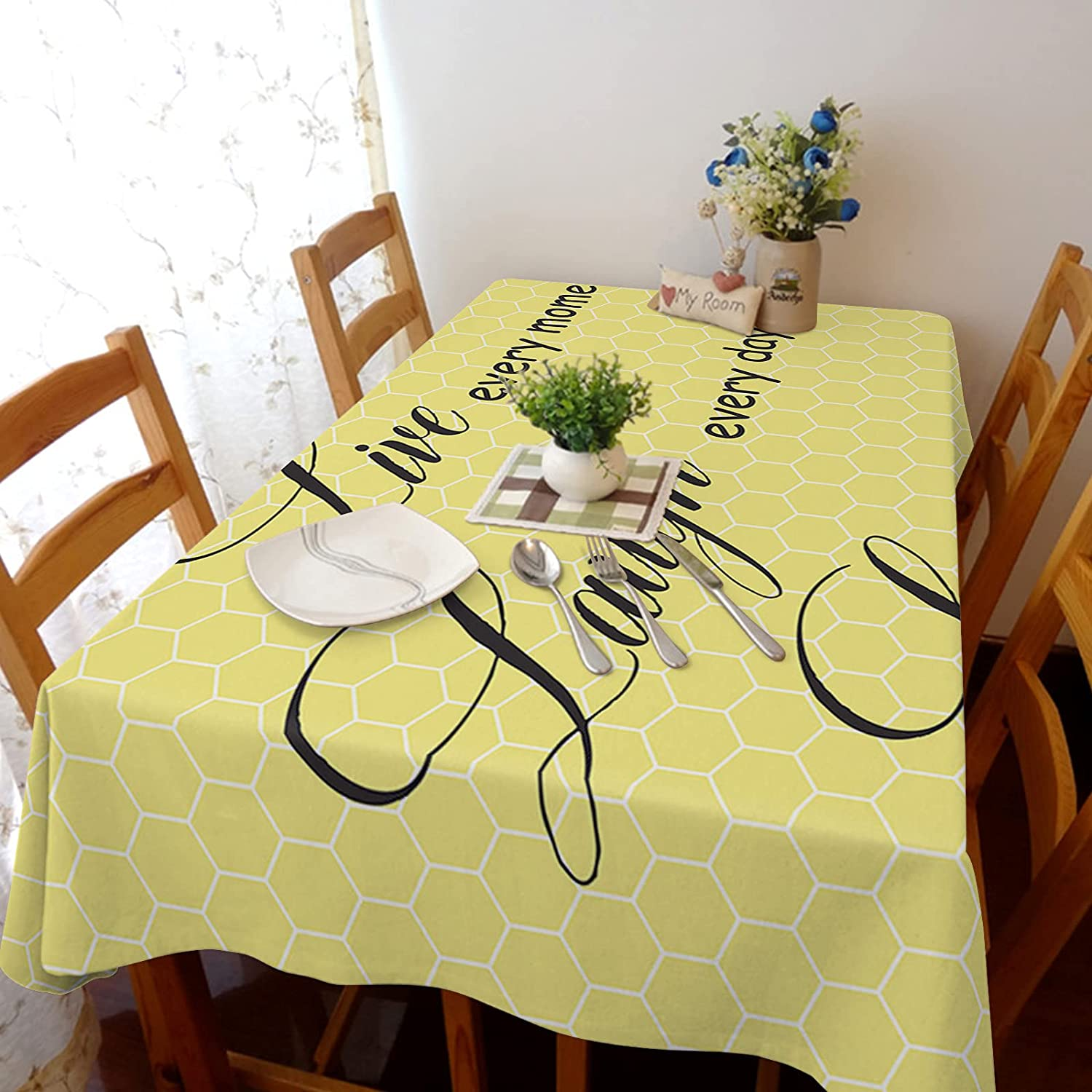 Tablecloth for Nippon regular agency Dinning Room Positive Quotes Hive Retro Max 40% OFF Yellow Ba
