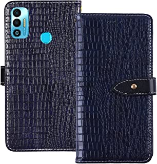 YLYT Shockproof - Blue Flip Leather TPU Silicone Luxury Cover Stand Wallet Case For Tecno Spark 7T 6.52 inch Pouch With Ca...