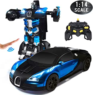 Trimnpy RC Cars Robot for Kids Remote Control Car Transformrobot Gesture Sensing Toys with One-Button Deformation and 360°Rotating Drifting 1:14 Scale , Best Gift for Boys and Girls(Blue)