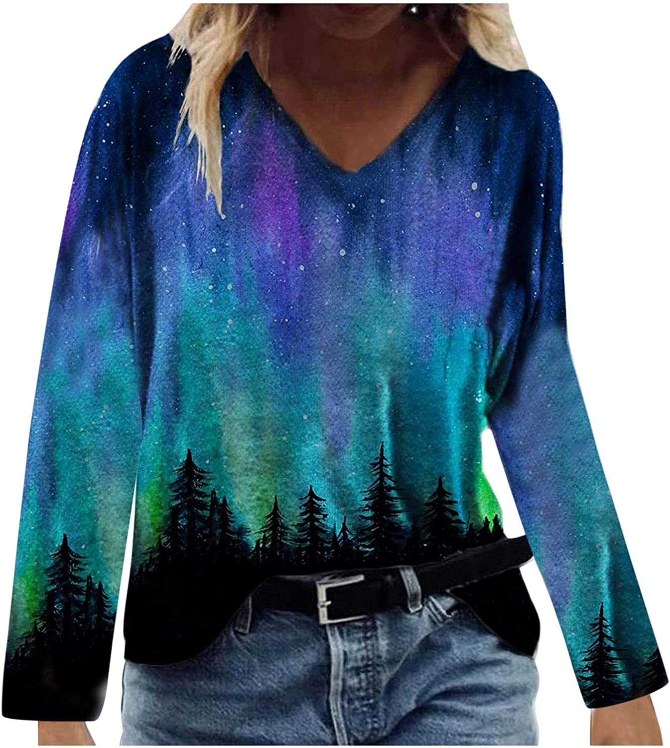 Sunflower Butterfly T-Shirt Nature Print Long Sleeve Blouse for Womens Colorful Pattern Loose V-Neck Pullover Tops