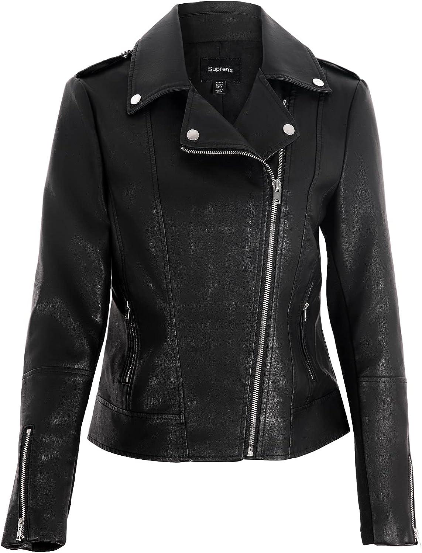 Suprenx Women's Faux Leather Jacket Motorcycle Short PU Moto Biker Slim Coat