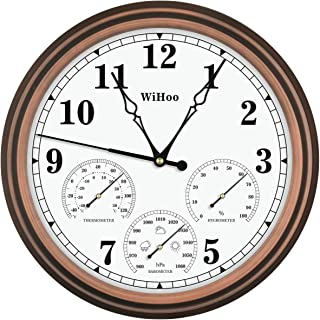 Sponsored Ad - WiHoo 15 Inch Silent Outdoor Clocks with Thermometer,Hygrometer and Barometer Battery Operated Metal Clock,...