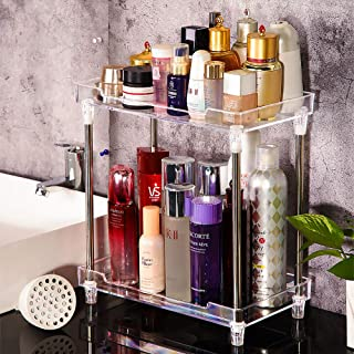 Bathroom Organizer Countertop, 2-Tire Skincare Organizers Vanity Tray Corner Shelf for Makeup Cosmetic Perfume, Multi-Functional Acrylic Organizer in Vanity Dresser Bathroom Kitchen Living Room etc.