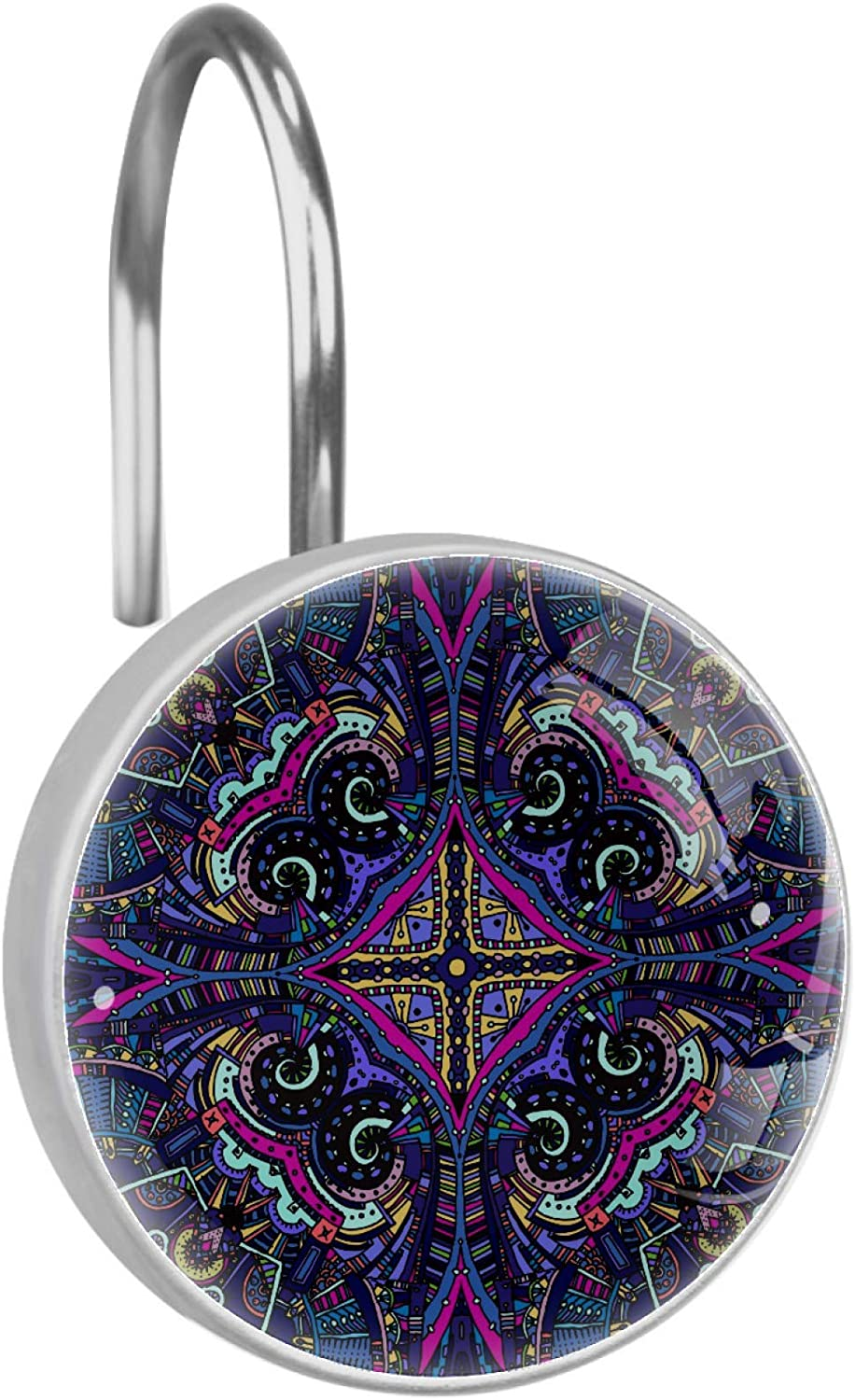 Los Angeles Mall Mandala Purple Psychedelic Owl Set of Rings Curtain 12 Ru Shower Be super welcome