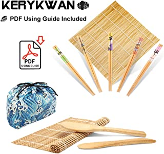 Bamboo Sushi Making Kit-2 Carbonized Bamboo sushi Rolling Mats,5 Pairs Chopsticks,1 Rice Paddle,1 Rice Spreader,1 Storage Bag-Complete Sushi Maker for Beginner-Beginner Guide PDF Included (Blue wave)