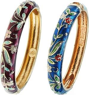 UJOY Cloisonne Bracelet Butterfly Gold Hinge Indian Cuff Bangle Enameled Jewelry Flower Bracelets for Women Gift Box 55A119