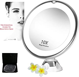 BIG TRIBE 10X Magnifying LED Lighted Makeup Mirror. Our Vanity Face Mirror Beauty Bundle with eBook & Gift Box Makeup Applicator are the Perfect Gifts for Women. Makes a great Bathroom or Travel Mirror