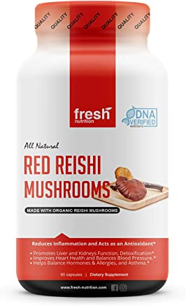 Reishi Mushroom Capsules - 1500mg Strongest Per Serving - Organic Red Reishi Mushrooms - DNA Verified Ganoderma Lucidum & Ganoderma Applanatim - Third Party Tested - 90 Capsules/Pills