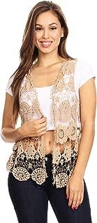 Womens Floral Crochet Lace Trim Sleeveless Open Front Vest Cardigan