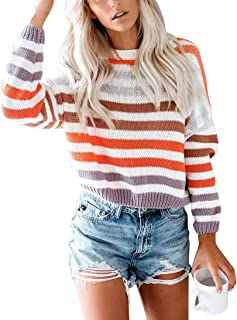 NORA TWIPS Women's Long Sleeve Sweater Crew Neck Color Block Striped Casual Knitted Pullover Tops